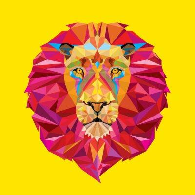 Canvas print Lion head in geometric pattern