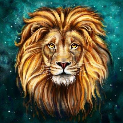 Canvas print lion tlo