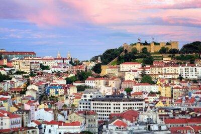 Canvas print Lisbon, Portugal, view to the Alfama quarter and St. Jorge Castl
