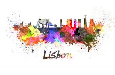Canvas print Lisbon skyline in watercolor