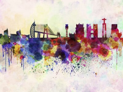 Canvas print Lisbon skyline in watercolor background