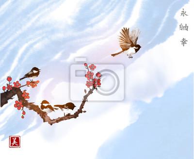Little birds and sakura branch on blue sky background. Traditional oriental ink painting sumi-e, u-sin, go-hua.  Hieroglyphs - eternity, freedom, happiness, beauty.