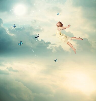 Canvas print Little Girl Flying at Twilight