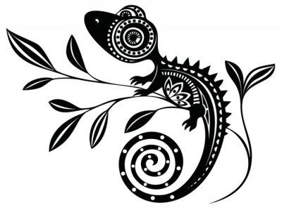 Canvas print Lizard on a branch.pattern. Chameleon.tattoo.