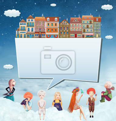Canvas print llustration of a banner with houses,children and clouds