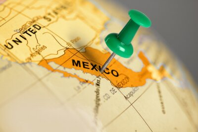 Canvas print Location Mexico. Green pin on the map.