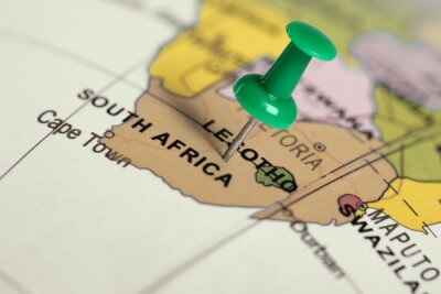 Canvas print Location South Africa. Green pin on the map.