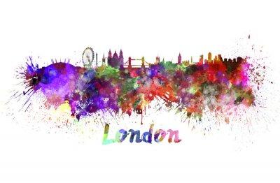 Canvas print London skyline in watercolor
