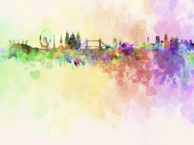 Canvas print London skyline in watercolor background