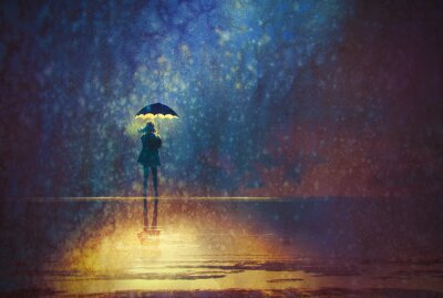Canvas print lonely woman under umbrella lights in the dark,digital painting