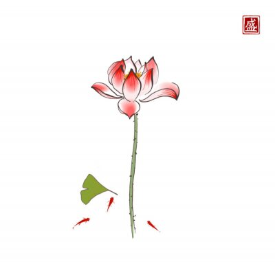Lotus flower, gingko leaf and three little red fishes on white background. Traditional oriental ink painting sumi-e, u-sin, go-hua. Hieroglyph - blossom