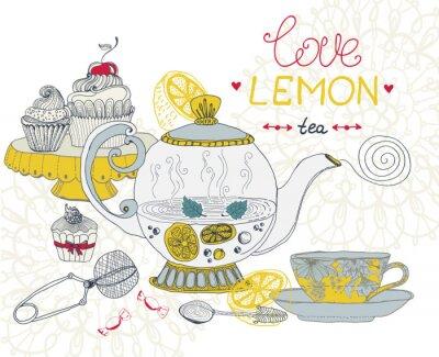 Canvas print love lemon tea card