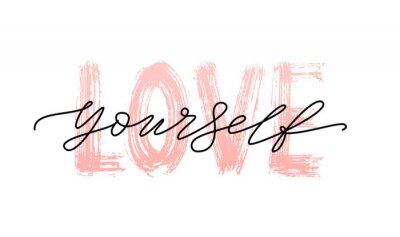Canvas print Love yourself quote. Single word. Modern calligraphy text print Vector illustration black and white. ego