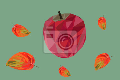 Low poly colorful autumn background, red apple with leaves.
