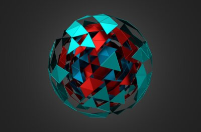 Canvas print Low Poly Metal Sphere with Chaotic Structure.