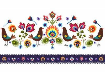 Canvas print ludowy wzór  z ptakami