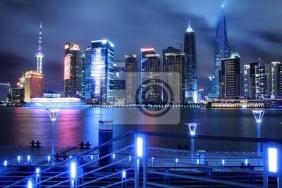 Lujiazui beautiful dreamy blue city night, in Pudong Shanghai