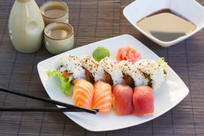 Canvas print lunch with  sushi dish