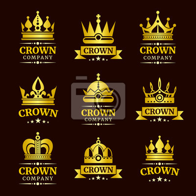 luxury crown logo and crown monogram set gold crowns with text