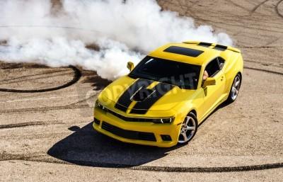 Canvas print Luxury yellow sport car drifting, motion capture