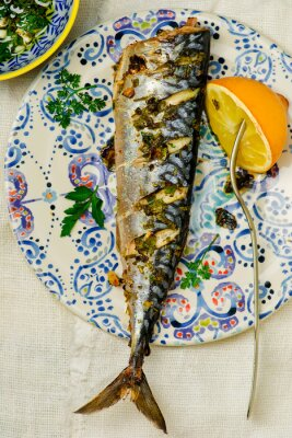 Canvas print mackerel - a grill with a lemon and sauce