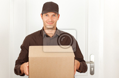 mailman with packet provides order cash on delivery