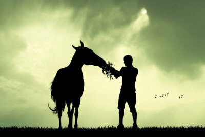 Canvas print man and horse at sunset