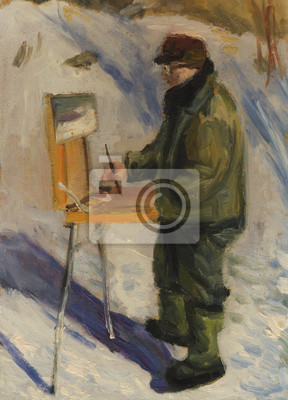 Man artist painting a winter landscape. Oil painting