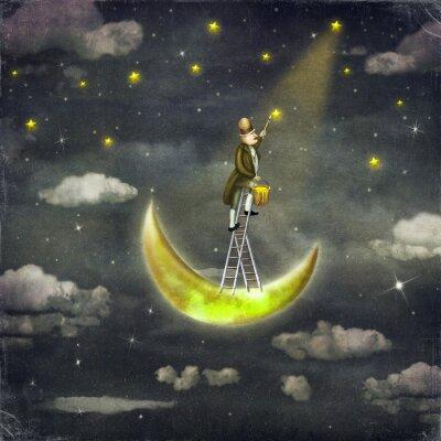 Canvas print Man draws  stars  at top of tall ladder in dark sky