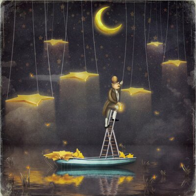 Canvas print Man reaching for stars  at top of tall ladder