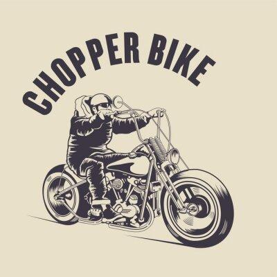 Canvas print Man ride a custom bike