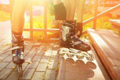Canvas print man rollerblading outdoors