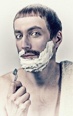 Canvas print man shaving
