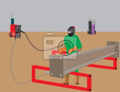 Man welding with Mig Welder, Oxy Acetylene Set in Background