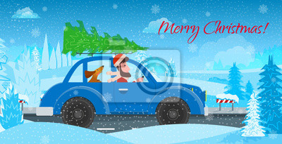 Man with the dog in the car, carry a Christmas tree on a winter road. Vector