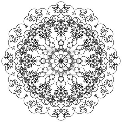 Canvas print Mandala, circular ornament using the leaves, berries and flowers