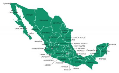 Canvas print Map of Mexico with states and cities