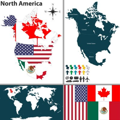 Canvas print Map of North America