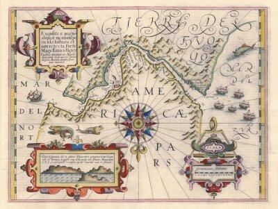 Canvas print Map of Strait of Magellan