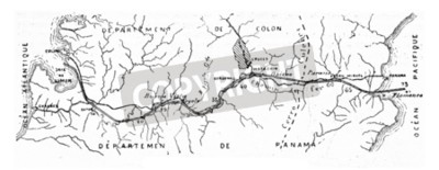 Canvas print Map of the Panama Canal, vintage engraved illustration. Industrial encyclopedia E.-O. Lami - 1875.