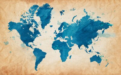 Canvas print map of the world with a textured background and watercolor spots