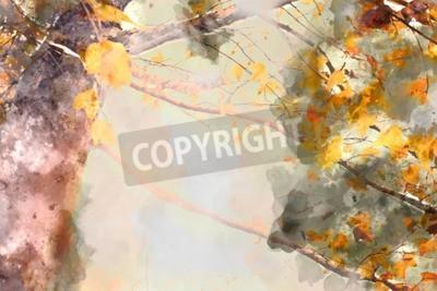 Canvas print Maple tree in autumn season, watercolor background