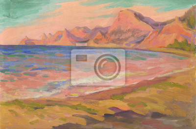 Canvas print Maritime morning landscape. Oil painting