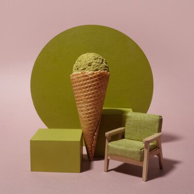 Matcha ice cream in japanese style on pink background. Healthy food background
