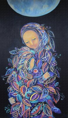 Canvas print Maternity. Madonna with Child. Beautiful acrylic painting on canvas of woman in foliage clothes with baby, under the fool moon on a black background. Hand drawn portrait. Leaf pattern. Interior decor.