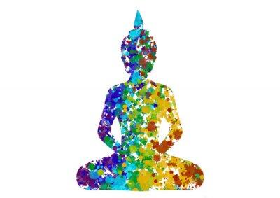 Canvas print Meditating Buddha posture in rainbow colors