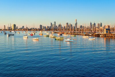 Canvas print Melbourne skyline from St Kilda at sunset (Victoria, Australia)