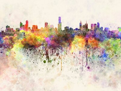 Canvas print Melbourne skyline in watercolor background