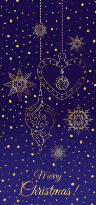 Merry Christmas! Gold snowflakes and Christmas decorations on blue background with sparkles. The vertical format. Vector