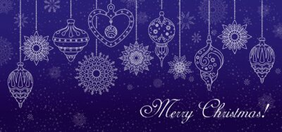 Merry Christmas! Snowflakes and Christmas decorations on blue background. The horizontal format. Vector